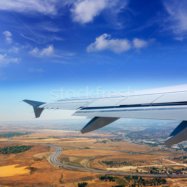 Samolot Madryt Hiszpania złoty pszenicy Zdjęcia stock © lunamarina