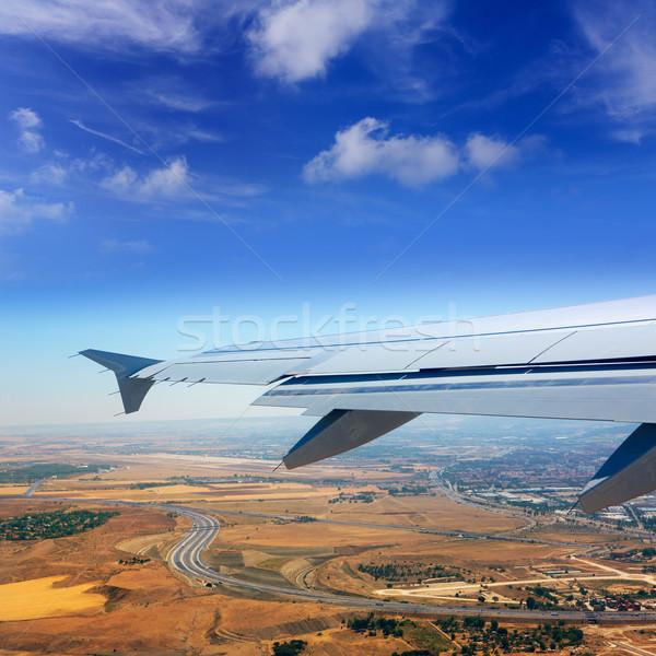 Stockfoto: Vliegtuig · Madrid · Spanje · gouden · tarwe