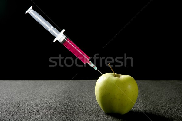 Jabłko manipulacja strzykawki bio genetyka badań Zdjęcia stock © lunamarina