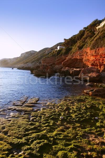 Kék mediterrán tengeri kilátás kövek Spanyolország tengerpart Stock fotó © lunamarina