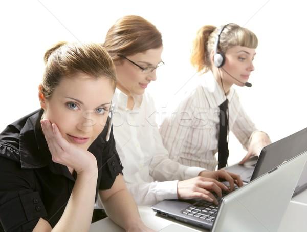 Stock fotó: Három · üzletasszony · helpdesk · izolált · fehér · stúdió