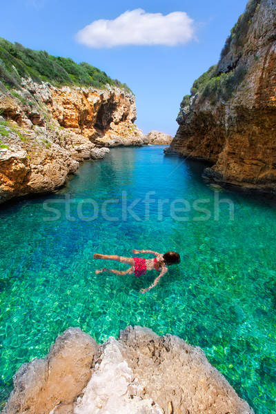 sAlgar beach Cala Rafalet in Menorca at Balearic Islands Stock photo © lunamarina