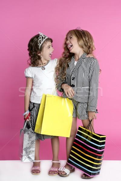 Little shopper humor shopaholic girls Stock photo © lunamarina
