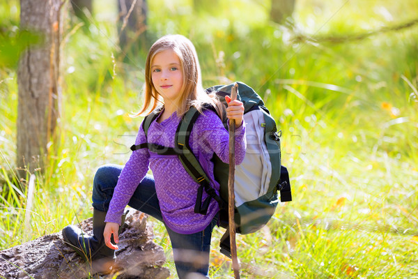Hiking kid girl with backpack in autum poplar forest Stock photo © lunamarina