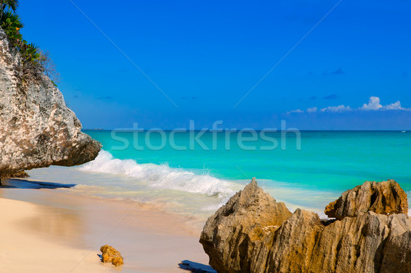 Stock photo: Tulum beach near Cancun turquoise Caribbean