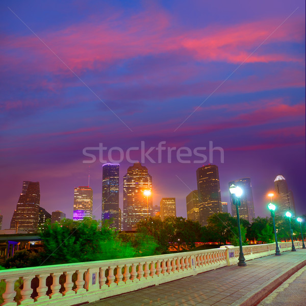 Houston linha do horizonte pôr do sol Texas EUA ponte Foto stock © lunamarina