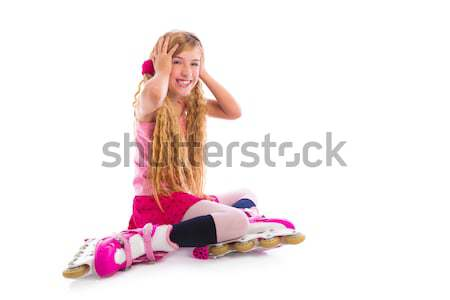 blond pigtails roller skate girl sitting happy Stock photo © lunamarina