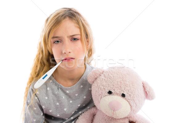 Szőke lány hőmérő influenza hideg mogorva Stock fotó © lunamarina
