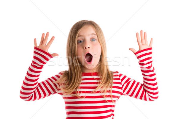 Blond kid open mounth and hands happy Stock photo © lunamarina