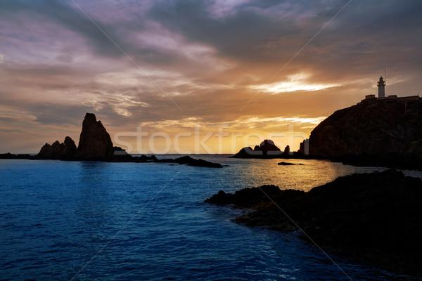 Stok fotoğraf: Deniz · feneri · gün · batımı · İspanya · akdeniz · deniz · gökyüzü