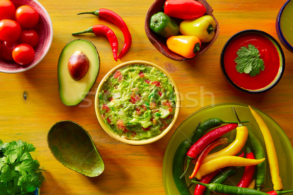 Mexican food mixed guacamole nachos chili sauce Stock photo © lunamarina