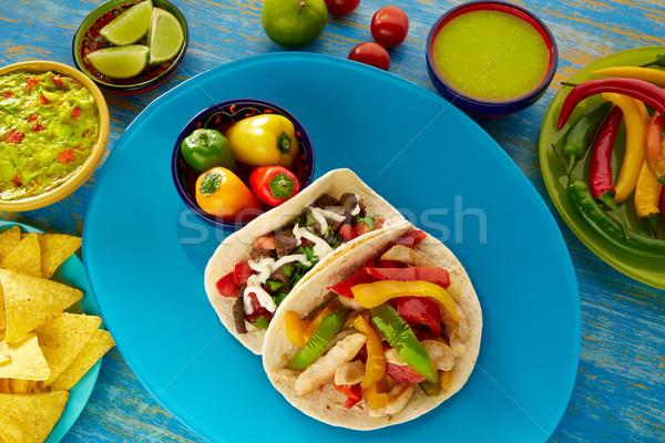 Mexican tacos chicken fajita and beef res taco Stock photo © lunamarina