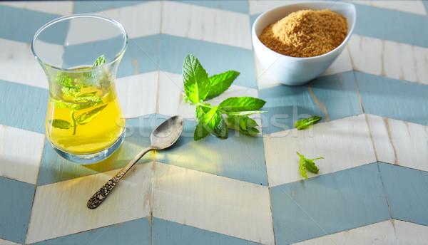 Chá verde de estilo madeira azul branco Foto stock © lunamarina