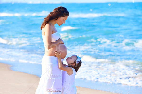 Pregnant mother and daughter on the beach Stock photo © lunamarina
