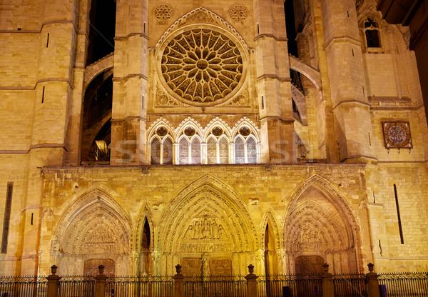 Cathedral of Leon in Castilla at Spain Stock photo © lunamarina