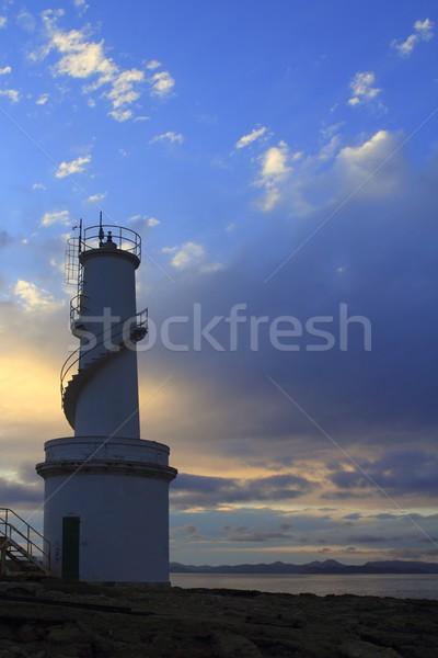 La Savina port lighthouse Formentera sunset Stock photo © lunamarina