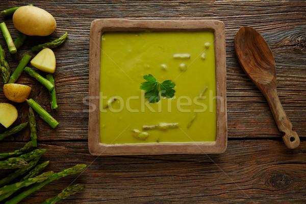 Kuşkonmaz çorba yeşil krem ahşap masa Stok fotoğraf © lunamarina