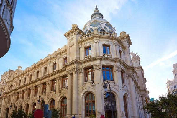 Valencia city Correos building Ayuntamiento square Stock photo © lunamarina