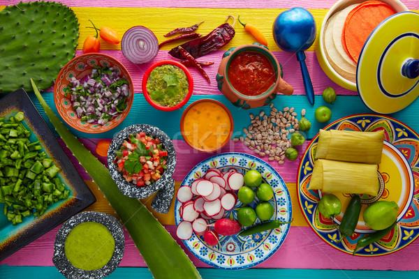 Comida mexicana agave restaurante cena placa Foto stock © lunamarina