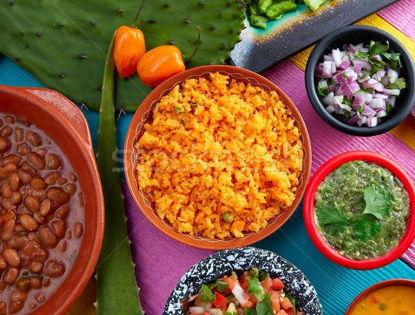 Mexican yellow rice with chilis and frijoles Stock photo © lunamarina