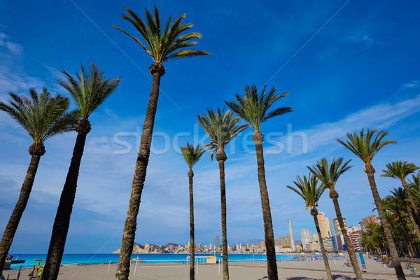 Stock fotó: Tengerpart · Spanyolország · mediterrán · égbolt · víz · város