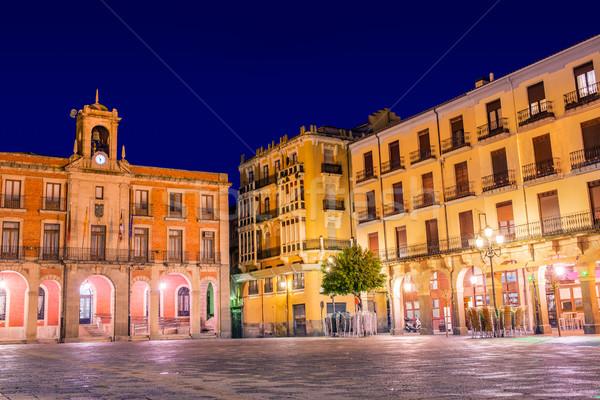 Zamora Plaza Mayor sunset in Spain Stock photo © lunamarina