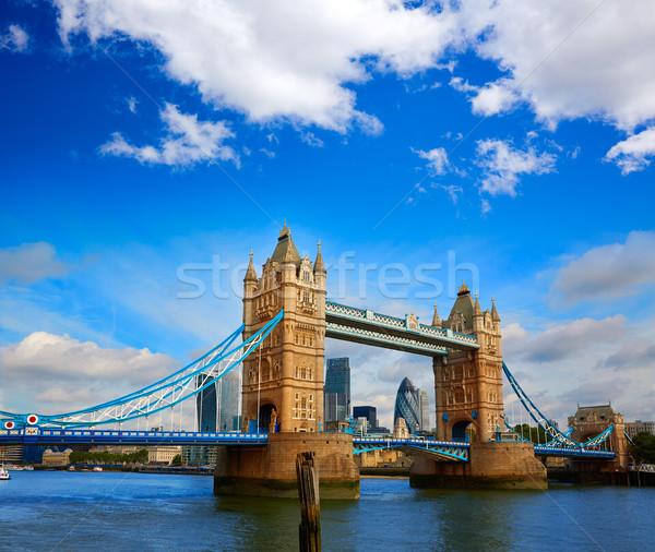 London Tower Bridge naplemente Temze folyó Anglia Stock fotó © lunamarina