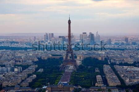 Эйфелева башня Париж антенна закат Франция небе Сток-фото © lunamarina