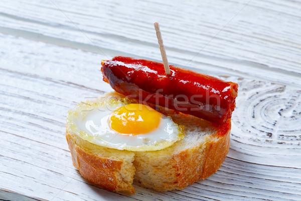 pinchos pintxos chistorra with quail egg tapas Stock photo © lunamarina