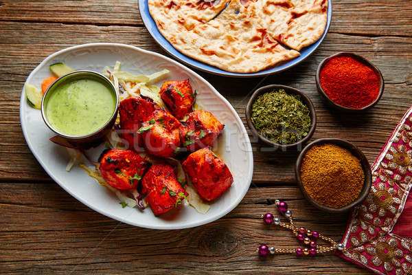 Chicken Tikka indian food recipe Stock photo © lunamarina