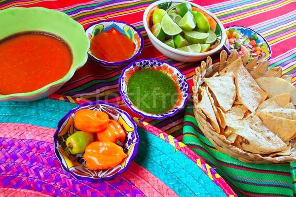 Mexican food varied chili sauces nachos lemon Stock photo © lunamarina