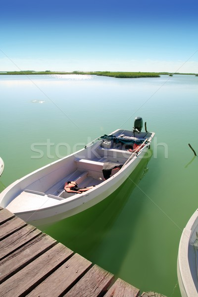 boats in pier mangrove lagoon in Mayan Riviera Stock photo © lunamarina