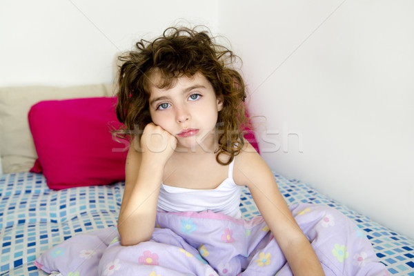 brunette girl boring bed messy morning hair Stock photo © lunamarina