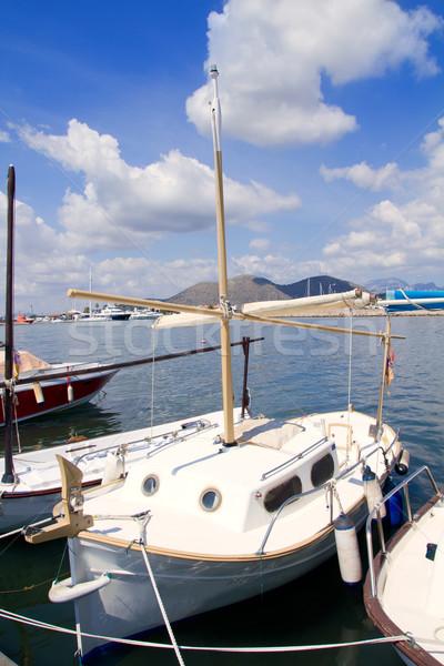 Alcudia Majorca port with llaut boats in marina Stock photo © lunamarina