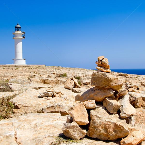 Barbaria formentera Lighthouse make a wish stones Stock photo © lunamarina