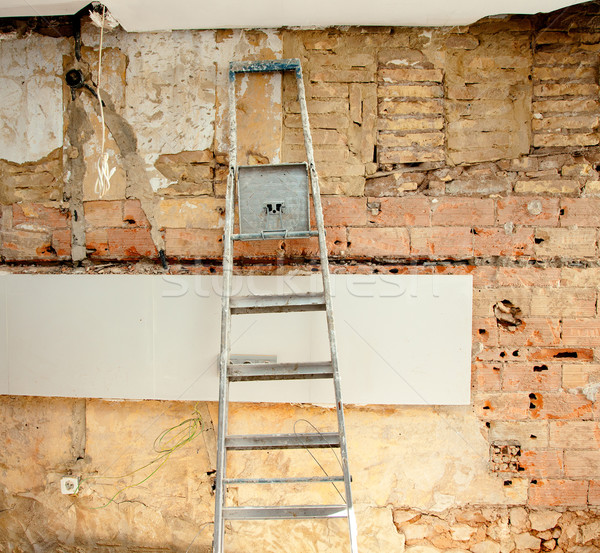 Rombolás konyha belső építkezés létra ház fal Stock fotó © lunamarina