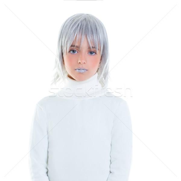 beautiful futuristic kid girl futuristic child with gray hair Stock photo © lunamarina