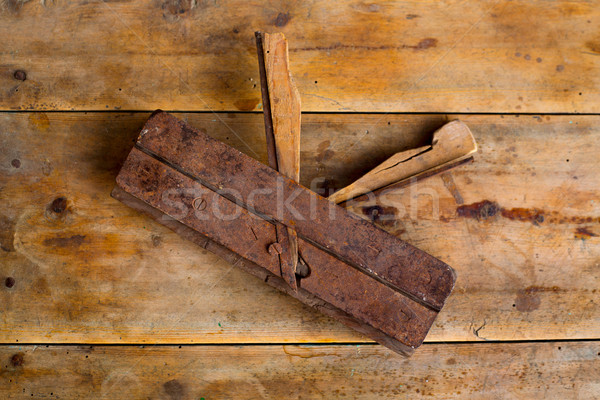 carpenter vintage wood planer tool planer rusted Stock photo © lunamarina