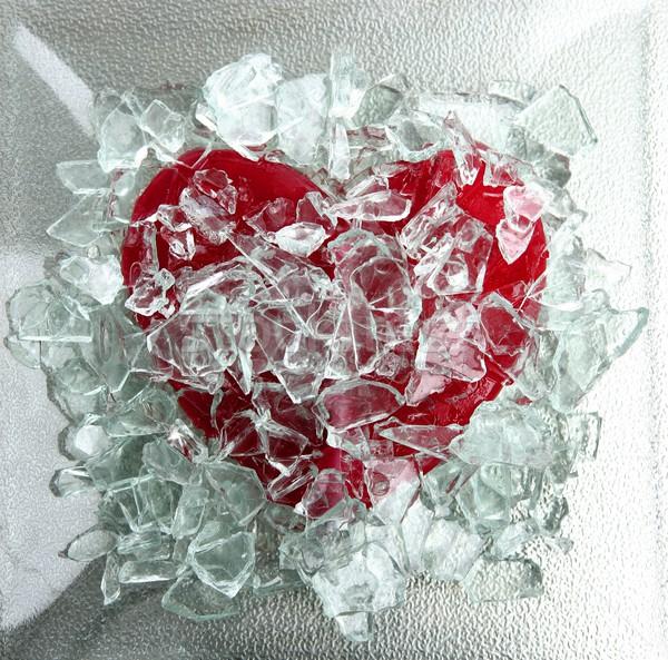 Broken glass red heart Stock photo © lunamarina