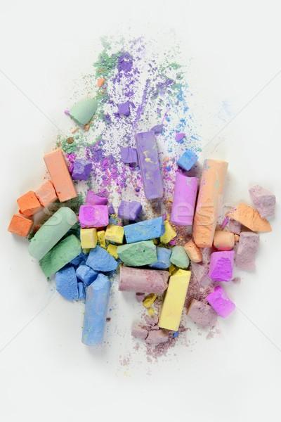 Colorful chalk broken colors mess over white Stock photo © lunamarina
