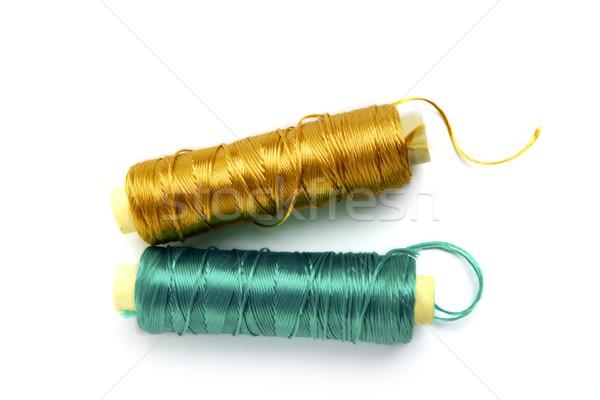 Metálico hilo línea carrete verde oro Foto stock © lunamarina