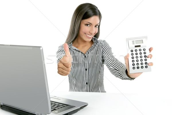 Calculator businesswoman happy for good stats Stock photo © lunamarina