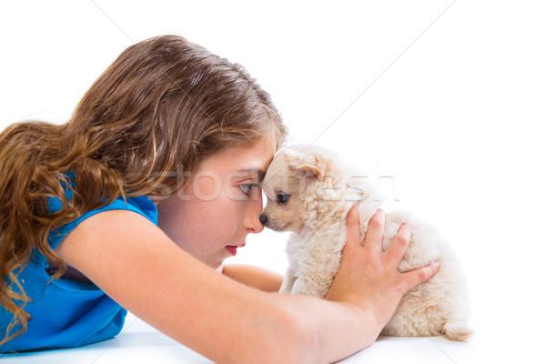 relaxed kid girl and puppy chihuahua dog lying Stock photo © lunamarina