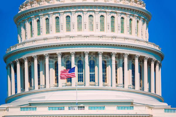 épület Washington DC amerikai zászló USA kongresszus ház Stock fotó © lunamarina