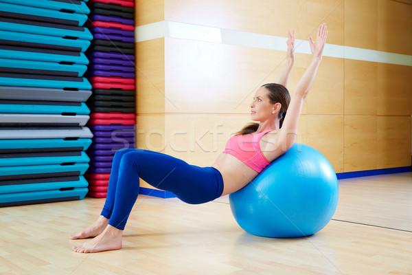 Pilates kadın egzersiz spor salonu antreman Stok fotoğraf © lunamarina
