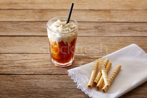 Coffee smoothie with wafers on vintage  wood table Stock photo © lunamarina