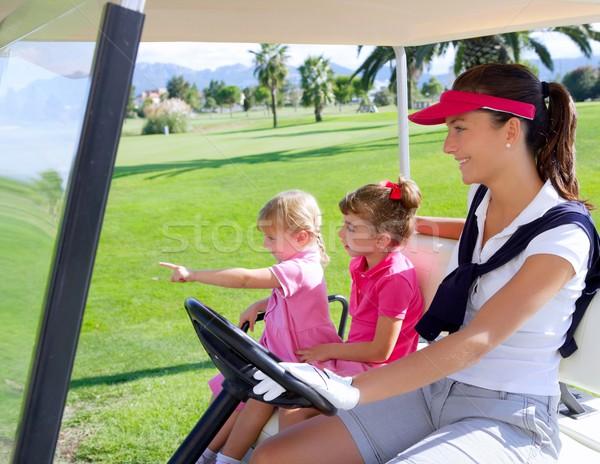 Foto stock: Campo · de · golfe · família · mãe · grama · verde · campo · mulher