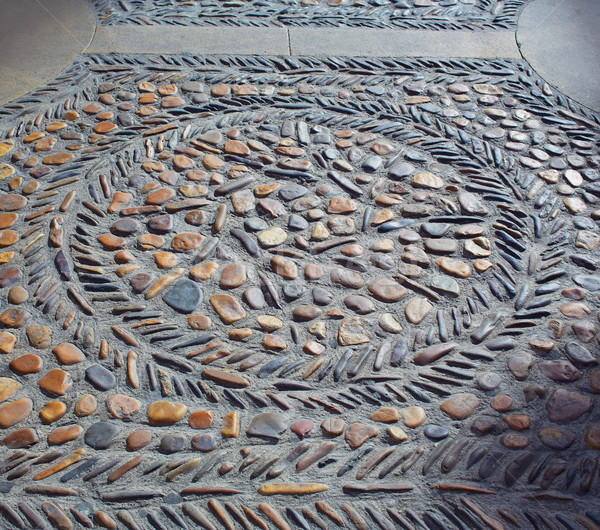 Stone tiles floor in Leon at Way of Saint James Stock photo © lunamarina
