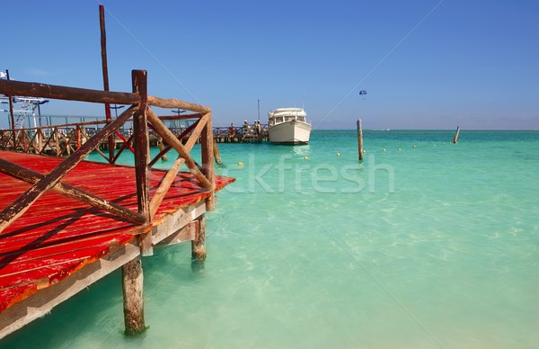 caribbean sea wooden dock mooring Stock photo © lunamarina