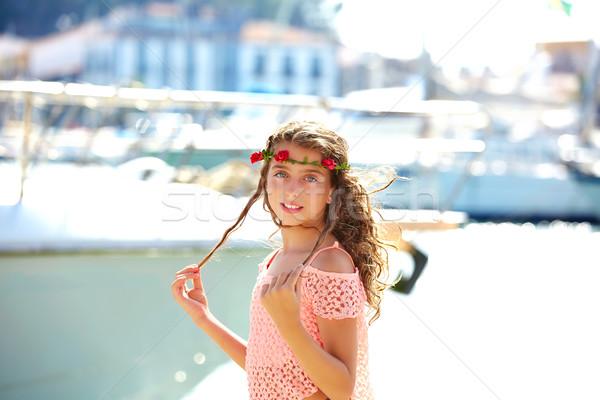 ブルネット 子供 十代の少女 地中海 ポート スペイン ストックフォト © lunamarina